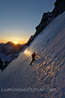 ICE CLIMBING ON THE  POINTE LACHENAL, MASSIF DU MONT-BLANC, HAUTE-SAVOIE, FRANCE