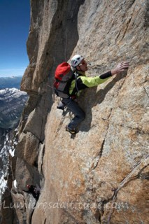 CLIMBING THE CENTRAL PILAR OF FRENEY, MASSIF DU MONT-BLANC, HAUTE-SAVOIE, FRANCE