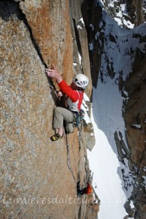 ROCK CLIMBING ON THE CHANDELLE DU TACUL, MASSIF DU MONT-BLANC, HAUTE-SAVOIE, FRANCE