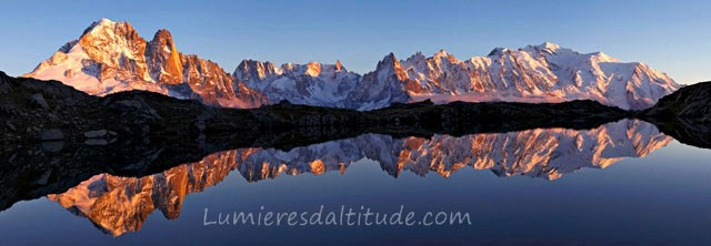 MASSIF DU MONT-BLANC AT SUNRISE FROM CHESERYS LAKE, HAUTE SAVOIE, FRANCE