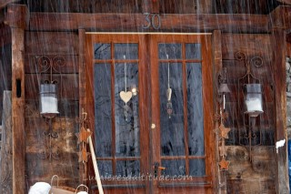FRONT DOOR OF A CHALET, CHAMONIX, HAUTE SAVOIE, FRANCE