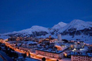 VILLAGE OF SESTRIERE BY NIGHT, ITALY