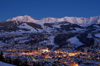 VILLAGE OF MEGEVE AT SUNRISE, HAUTE-SAVOIE, FRANCE