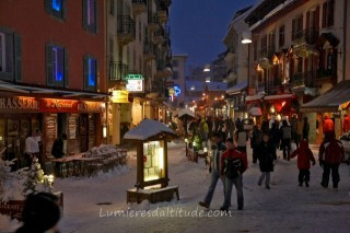VILLAGE  OF CHAMONIX BY NIGHT, HAUTE SAVOIE, FRANCE