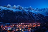CHAMONIX BY NIGHT, HAUTE SAVOIE, FRANCE