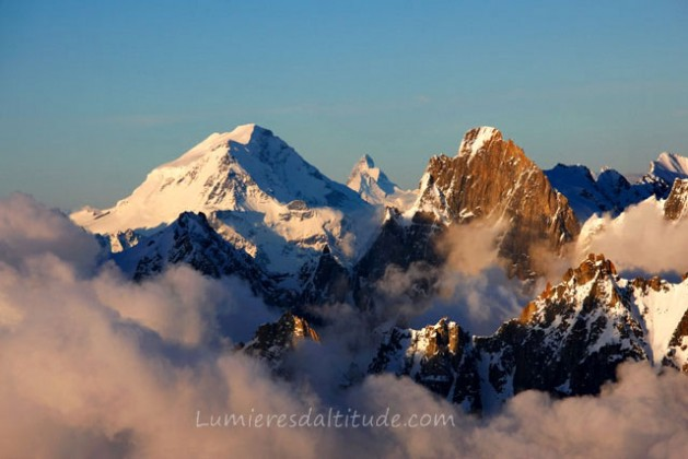 GRAND COMBIN AND CERVIN AT SUNRISE, VALAIS, SUISSE