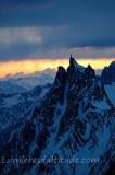 SUNSET ON THE AIGUILLE DU MIDI, MASSIF DU MONT-BLANC, HAUTE SAVOIE, FRANCE