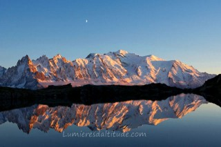 MASSIF OF MONT-BLANC, CHESERYS LAKE, HAUTE SAVOIE, FRANCE