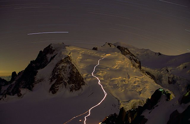 Night walk on the way to the Mont-blanc