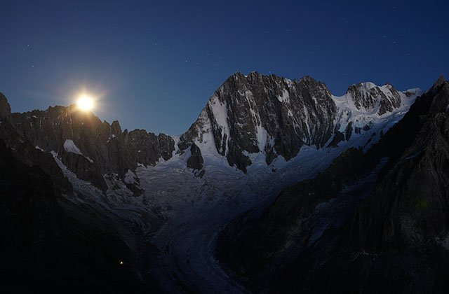 Moon rise on the petites Jorasses